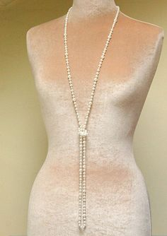 Extra-long pearl necklace, long flapper necklace, long bridal necklace, 20s wedding jewelry - Olive