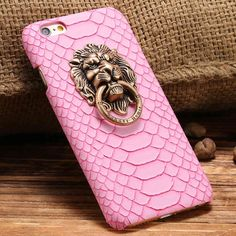 For iPhone 5S SE 6 6s Plus Novel Metal 3D Lion Head Slim Back Armor Case For Apple iPhone 5 5S SE 6s Plus Sexy Snake Skin Cover