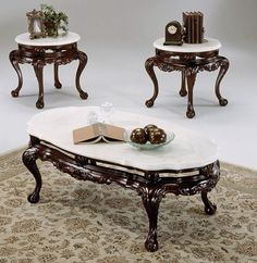 Three piece table set - marble top