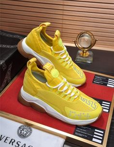Versace Casual Shoes For Men Versace Jacket, Versace T Shirt, Versace Shoes, Gucci Mens Sneakers, Air Max Sneakers, Sneakers Nike, Fashion Slippers, Fashion Shoes, Versace Fashion