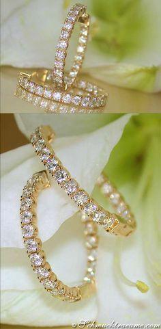 Cute Diamond Huggie Earrings, 2,27 ct. G-VS/SI YG14K - Visit: schmucktraeume.com