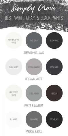 Best white gray and black paint via Simply Grove Grey Paint Colors, Exterior Paint Colors, Paint Colors For Home, House Colors, Dark Gray Paint, Exterior Design, Grey Bedroom Colors, Charcoal Paint, Neutral Paint