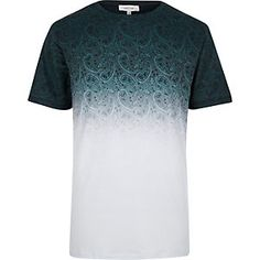 White faded paisley print t-shirt
