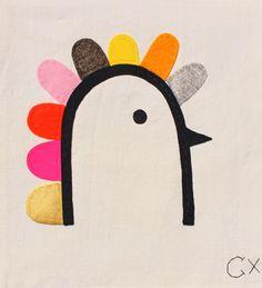 Hen embroidery by Rachel Castle