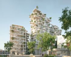 as part of bordeaux euratlantique, sou fujimoto and laisné roussel have proposed a series of timber towers that climb to a total height of 50 meters. Green Architecture, Classical Architecture, Sustainable Architecture, Landscape Architecture, Sou Fujimoto, Ville Durable, Green Tower, Old Abandoned Houses, Facade Design