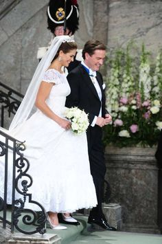 Princess Madeleine of Sweden in an Oscar de la Renta wedding gown married to British-Born American businessman Christopher O'Neill in Stockholm on 8th June 2013.