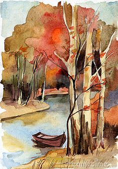 Forest landscape with river. Forest autumn landscape with river. Watercolor Trees, Watercolor Landscape, Watercolor And Ink, Watercolour Painting, Landscape Art, Painting & Drawing, Forest Landscape, Watercolours, Lake Painting