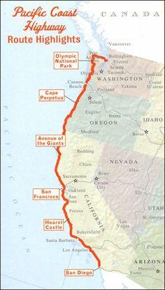 Pacific Coast Highway Road Trip USA: Seattle to San Diego - Coverage image Pacific Coast Highway, Highway Road, West Coast Road Trip, Us Road Trip, Travel Maps, Travel Usa, Travel Destinations, Voyage Usa, Destination Voyage