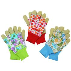 3 Pairs Women's Gloves with Leather and Flowers Print, Size L ** Additional details at the pin image, click it  : Gardening Tools