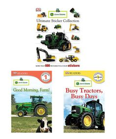 Mini machine enthusiasts are sure to love this vehicle-packed John Deere book set! Little ones can learn about tractors, farm machinery and more and let out their creative sides with tons of awesome stickers.