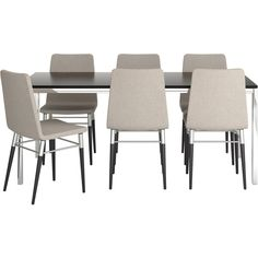 IKEA Torsby/ Preben Table And 6 Chairs, Brown-Black, Tenö Light Gray (1,210 CAD) ❤ liked on Polyvore featuring home, furniture, chairs, dining room, tables, black chair, black furniture, onyx furniture, chrome kitchen chairs and brown furniture