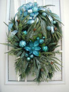Winter Teal Wreath by PetalsNPicks