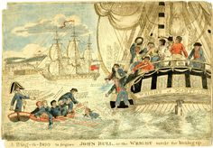 """""""A bug-a-boo for John Bull, or the Wright mode for kicking up"""" Hand-coloured etching, British Museum."""