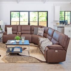 Living room decor Orlando 6 Piece Brown Sectional w/ RAF & LAF Power Recliners How Long to Install a Grey Leather Sectional, Brown Sectional, Living Room Sectional, Living Room Decor Cozy, Living Room Colors, Living Room Sets, Living Area, Reclining Sectional, Sectional Sofa