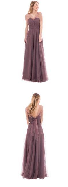 short sleeves v neck a-line/princess tulle long bridesmaid dress