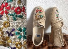Vintage Summer Embroidered Wedge Shoes/ Made in France