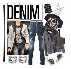 """""""Distressed Denim'"""" by dianefantasy ❤ liked on Polyvore featuring Philipp Plein, Dsquared2, Alexander McQueen, Banana Republic, Giuseppe Zanotti, Saddlebred, Kenneth Cole Reaction, mens, men and men's wear"""