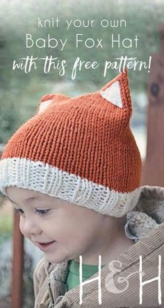 This fox hat can be completed in just a few hours, making it a perfect last minute baby shower gift or birthday present for a special little someone! This hat will fit most babies from 18 months.(Last Minutes Geburtstagsgeschenk) Baby Hat Knitting Pattern, Fox Pattern, Baby Hats Knitting, Crochet Baby Hats, Knitting For Kids, Knitting Projects, Crochet Pattern, Knitting Patterns, Knitted Hats Kids