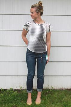 August 2015: This looks a little short in the front but I like the stripes and lace detail