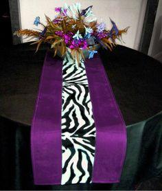Zebra/Purple Centro Table Runner Essence Table Linens Line ...