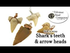 How to Wire Wrap Shark Teeth & Arrow Heads - YouTube tutorial from The Potomac Bead Company. Potomac bead company has hundreds of tutorials on YouTube and tens of thousands of products (gemstones, crystals, glass, seed beads, pendants, silver, findings, tools & more) in retail bead stores and on TheBeadCo.com! www.potomacbeads.com www.thebeadco.com