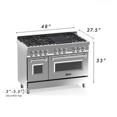 ZLINE 48 in. 6 cu. ft.8 Gas Burner/Electric Oven Range in Stainless Steel (RA48) - Free Shipping Today - Overstock.com - 23439598