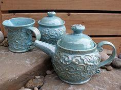 Robin egg's blue tea set