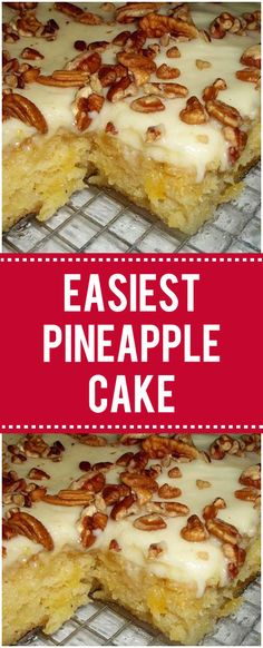 A delicious one bowl pineapple cake topped with a cream cheese frosting while it's still hot. This Easiest Pineapple Cake is a one bowl wonder! Not only is it made easy by only needing one Easy Yummy Cake Recipe, Easiest Pineapple Cake Recipe, Pineapple Pound Cake, Pinapple Cake, Pineapple Angel Food, Pineapple Desserts, Delicious Cake Recipes, Best Cake Recipes
