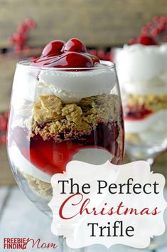 Cherry Cheesecake Trifle Dessert - Layers of crumbled graham crackers, whipped cream and cherry pie filling make this the perfect Christmas triple recipe. This delicious Christmas dessert is simple to make but impressive to serve.