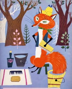 Retro Fox Illustration - I had a book with illustrations like this - wish I knew which book this came from.