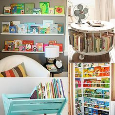19 Unique Ways to Store and Display Your Tots' Books is part of children Books Storage - Rack 'em up! Books can educate, inspire, and more, but they can also clutter up a room if there's no proper place to store them Rather than fill a traditional Big Girl Rooms, Boy Room, Kids Storage, Book Storage, Storage Ideas, Cable Storage, Toddler Rooms, Kids Rooms, Kid Spaces