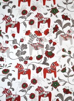 Imported Swedish Cotton Fabric. 56 wide with white background with grey vines,grey and brick red horses. The cotton is a heavier twill type. The