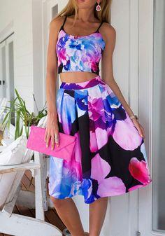 Model in petal prints skirt co-ord skirt