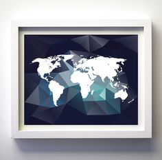 Navy blue teal world map digital download world silhouette printable art print minimalist modern wall decor art geometric world map print