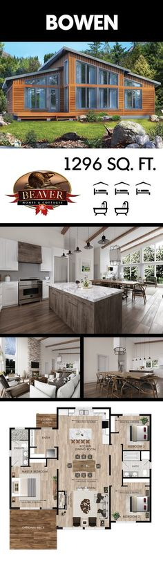 This modern cottage combines a contemporary feel with rustic cabin inspirations. - This modern cottage combines a contemporary feel with rustic cabin inspirations. This modern cottage combines a contemporary feel with rustic cabin inspirations. Lake House Plans, Dream House Plans, Small House Plans, House Floor Plans, Cabin Plans, Cottage Plan, Cottage Homes, Beaver Homes And Cottages, Carport Modern