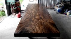 Live Edge Dining Table Reclaimed Solid Slab Acacia Wood In A Dark Walnut Grey Stain Color Finish Extremely Rare by flowbkk on Etsy
