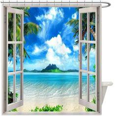 Beach Window Shower Curtain 185R