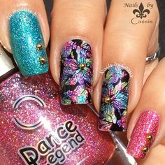 Nails by Cassis: Multicolour Holo Flower Stamping Mani #nails #nailart #nailstamping #dancelegend #faburnails