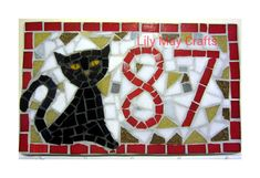 Handmade Mosaic House Door Number/Sign/plaque (cat design) - made to order on Etsy, £37.99