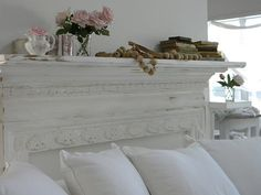 shabby chic faux mantle, love this idea over the bed instead of a head board .. Pretty neat!