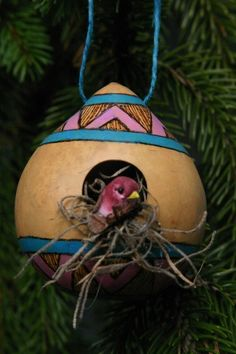 Primitive Birdhouse Ornament, Rustic Pink and Blue Decorative Birdhouse, Gourd Ornament, Southwest Style Birdhouse