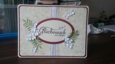 Stampin up - Hochzeitskarte, Flüsterweiß, Chili, Farngrün, Vanille