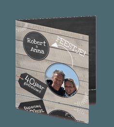 Uitnodigingskaart 40 jaar jubileum getrouwd krijtbord