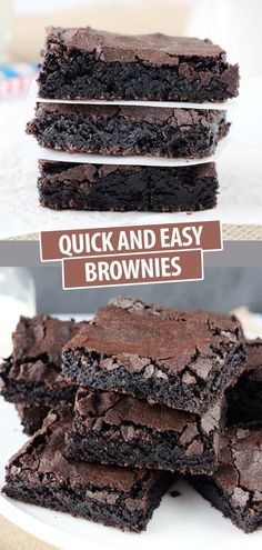Just Like Box Mix Homemade Brownies! So Easy and So Delicious! - - This easy homemade brownies recipe makes cakey brownies that taste like box mix brownies! With perfect crisp crackly tops and chewy centers, these brownies hit all the right notes. Quick Dessert Recipes, Quick Easy Desserts, Fancy Desserts, Lemon Desserts, Köstliche Desserts, Quick Easy Meals, Delicious Desserts, Easy Homemade Desserts, Homemade Brownie Recipes