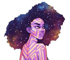 Spacing out Been a while since I've drawn some galaxy hair ☺✨ Black Girl Art, Black Women Art, Art Girl, Dope Kunst, Black Artwork, African American Art, African American Tattoos, Galaxy Art, Afro Art