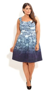 00c75e55c85 City Chic - FLORAL BLUES DRESS - Women's plus size fashion Curvy Women  Outfits, Robes