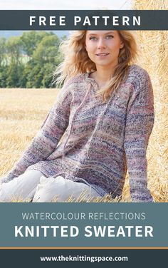 Brighten those cloudy days with this Watercolor Reflections Knitted Sweater. Its subtle rainbow colored stripes will make you feel cheery and cozy all day. Plus, it can make as a lovely gift idea for your friends, too.   Discover over 5,500 free knitting patterns at theknittingspace.com Winter Knitting Patterns, Poncho Knitting Patterns, Knitted Poncho, Free Knitting, Crochet Patterns, Knitting Ideas, Watercolor Pattern, Watercolour, Autumn Aesthetic