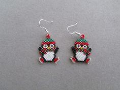 Beaded Ice Skating Penguin Earrings by DsBeadedCrochetedEtc