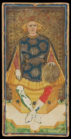 The King of Coins | Bonifacio Bembo for Visconti-Sforza Family | Medieval Tarot Cards | ca. 1450 | card no. 20 | The Morgan Library & Museum