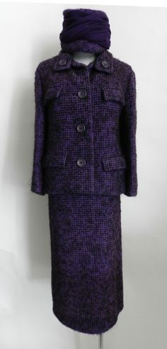 Christian Dior 1960's Purple Tweed Suit & Hat  France